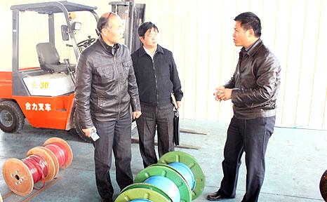 董事长李贻连讲解发热电缆生产工艺